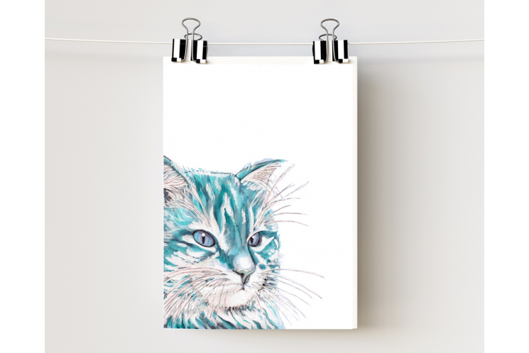 Aqua Blue Watercolor Cat Art Print 5 x 7