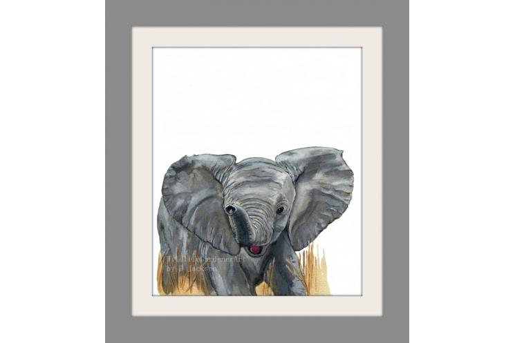 Watercolor Baby Elephant Art Print, Safari Animal