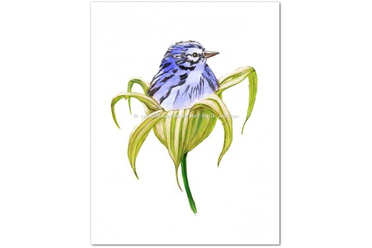 Blue Bird in Green Lily Flower Watercolor Art Print