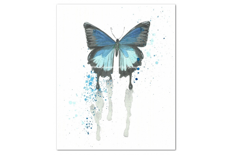 Butterfly Watercolor Art Prints, Pink, Blue (Set of 2)