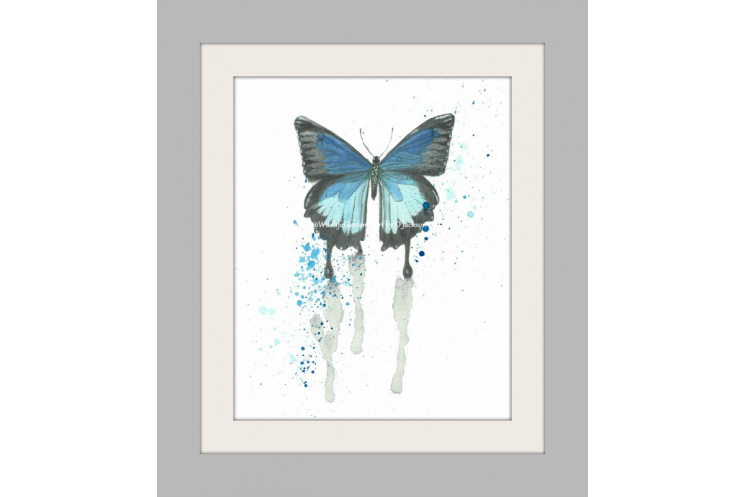 Blue Butterfly Watercolor Art Print, Insect cottage chic kids nursery wall art