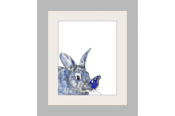 Blue Bunny and Butterfly Watercolor Art Print