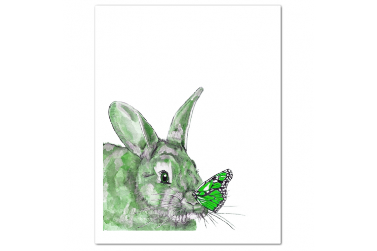 Green Bunny and Butterfly Watercolor Art Print