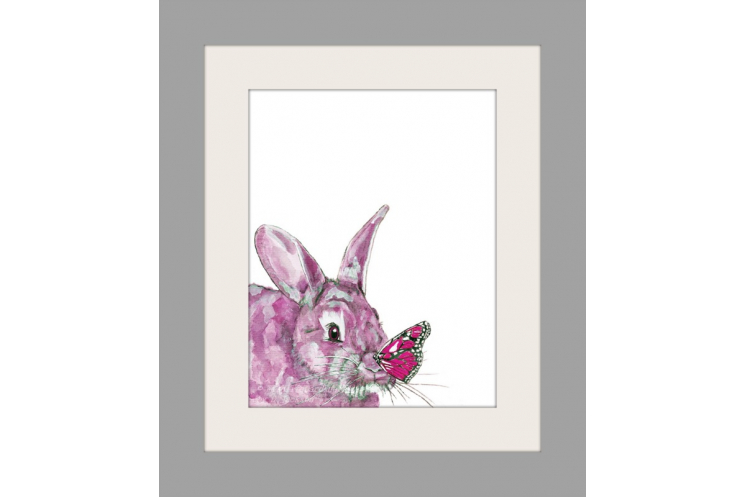 Pink Bunny and Butterfly Watercolor Art Print