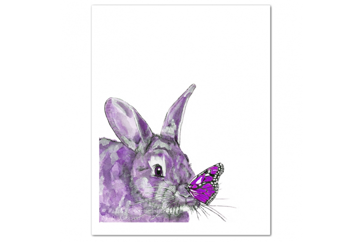 Purple Bunny and Butterfly Watercolor Art Print