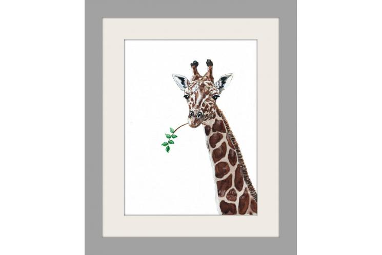Giraffe Watercolor Art Print, Safari Animal art, African Wildlife decor