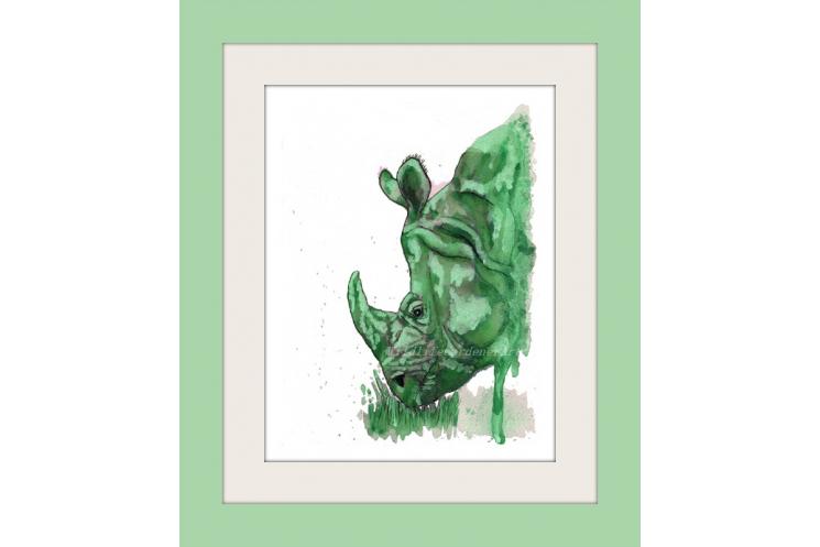 Green Rhino Watercolor Art Print