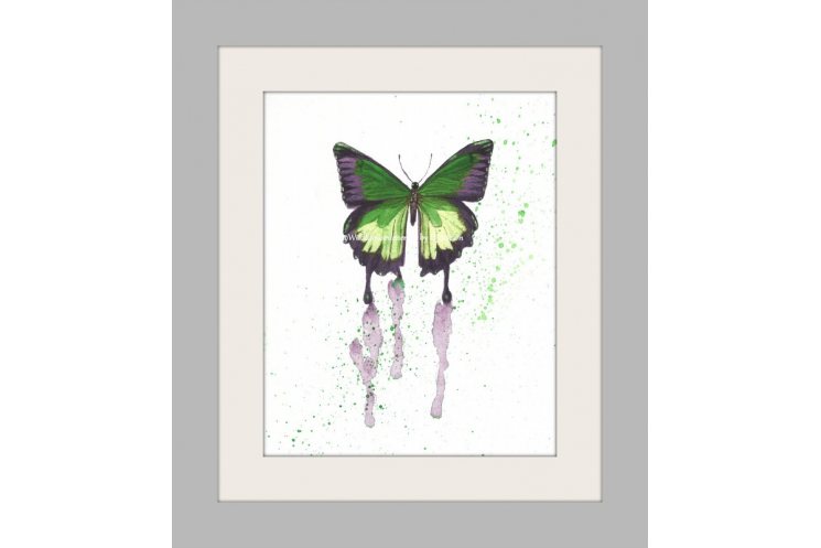 Green Butterfly Watercolor Art Print, Insect cottage chic nursery kids wall art