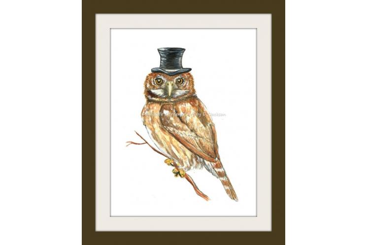 Owl in Top Hat Watercolor Art Print
