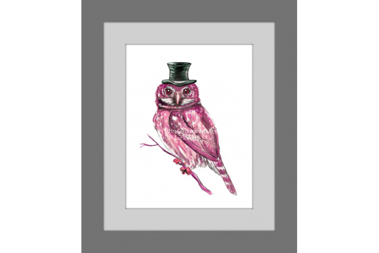Pink Owl in Top Hat Watercolor Art Print