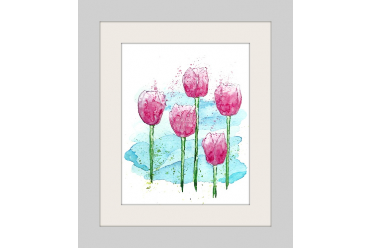 Pink Tulips Modern Watercolor Art Print