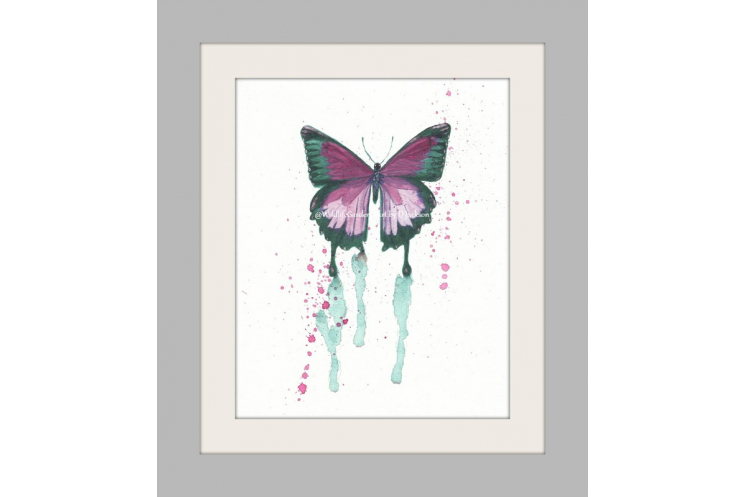 Pink Butterfly Watercolor Art Print, Insect cottage chic kids nursery wall art