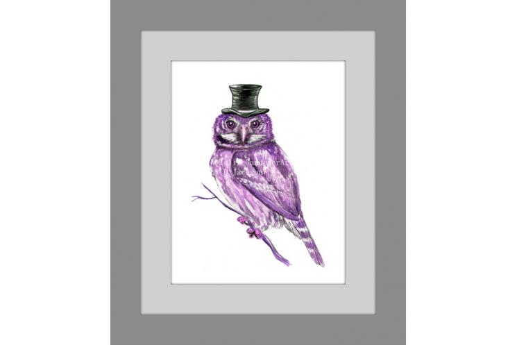 Purple Owl in Top Hat Watercolor Art Print