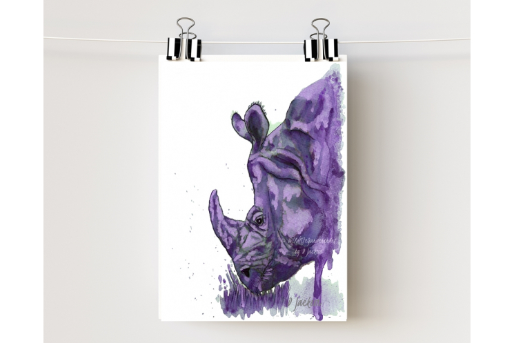 Purple Rhino Watercolor Art Print 5 x 7