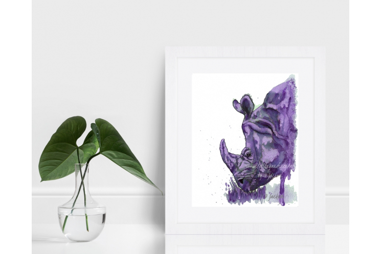 Purple Rhino Watercolor Art Print 8 x 10