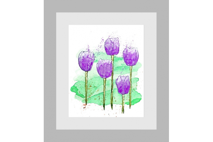 Purple Tulips Modern Watercolor Art Print