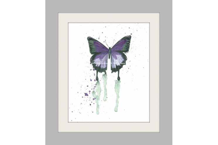 Purple Butterfly Watercolor Art Print, Insect cottage chic kids nursery wall art
