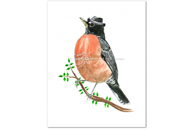 Robin in Fedora Hat Watercolor Bird Art Print