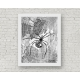 Black and White Halloween Spiders Watercolor Art Print, 11 x 14 Unframed