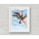 Christmas Lights Reindeer Watercolor Art Print, 11 x 14 Unframed