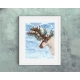 Contemporary Reindeer Christmas Decor, Watercolor Art Print 16 x 20 Unframed