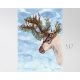 Christmas Lights Reindeer Watercolor Art Print
