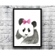 Giant Panda with Pink Hair Bow Watercolor Art Print