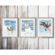 Christmas Lights Wildlife Watercolor Art Prints ( Set of 3)
