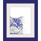 Blue, Navy Cat Watercolor Art Print, Contemporary Cat Art, Pop Art