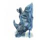 Blue Rhino Watercolor Art Print, Safari Animal, Contemporary Wildlife, Kids Art