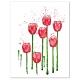 Red Tulips Minimalist Watercolor Art Print