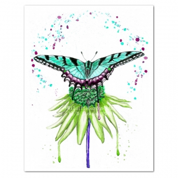 Aqua Blue Butterfly on Green Flower Watercolor Art Print