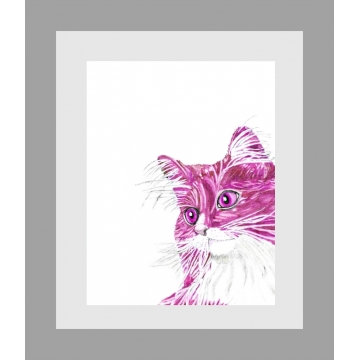 Hot Pink Cat Contemporary Watercolor Art Print
