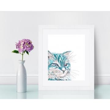 Aqua Blue Watercolor Cat Art Print 8 x 10