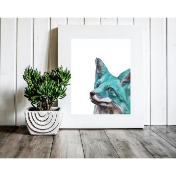 Aqua Blue Fox Watercolor Art Print, 11 x 14 Unframed