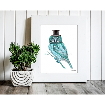 Aqua Blue Owl Watercolor Art Print, 11 x 14, Unframed