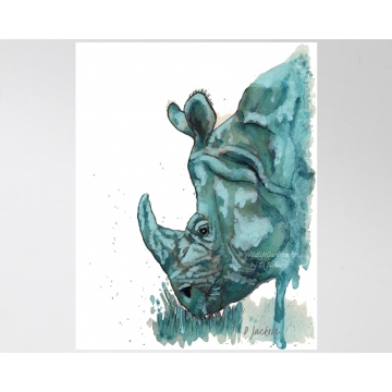Aqua Rhino Watercolor Art Print, 11 x 14 Unframed