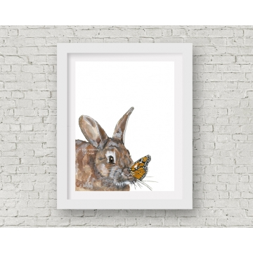 Bunny and Butterfly Watercolor Art Print, 11 x 14 Unframed