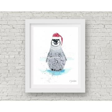 Baby Penguin Christmas Decor, Watercolor Art Print 11 x 14 Unframed