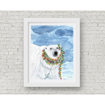 Christmas Lights Polar Bear Watercolor Art Print, 11 x 14 Unframed
