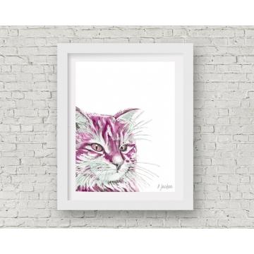Pink Cat Watercolor Art Print, 11 x 14 Unframed