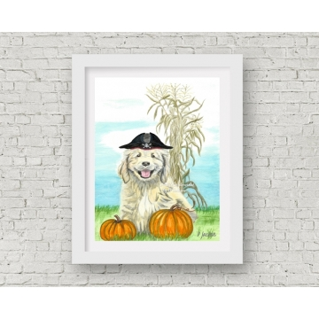 Halloween Puppy Pirate Watercolor Art Print, 11 x 14 Unframed
