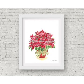 Red Poinsettia Christmas Decor, Watercolor Art Print 11 x 14 Unframed