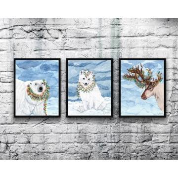 Christmas Lights Wildlife Watercolor Art Prints ( Set of 3)