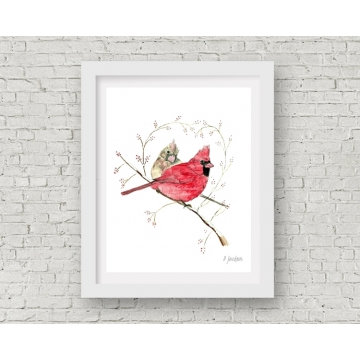 Winter Cardinals Watercolor Art Print, 11 x 14 Unframed