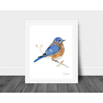 Bluebird Watercolor Art Print, 16 x 20, Unframed