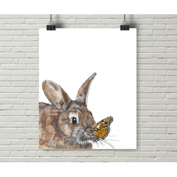 Bunny and Monarch Butterfly Watercolor Art Print, 16 x 20, Unframed