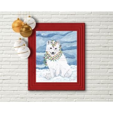 Arctic Fox Christmas Decor, Watercolor Art Print 16 x 20 Unframed