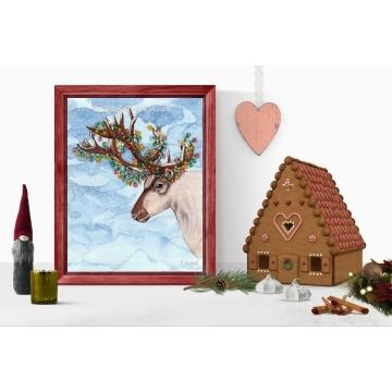 Contemporary Reindeer Christmas Decor, Watercolor Art Print 16 x 20 Unframed