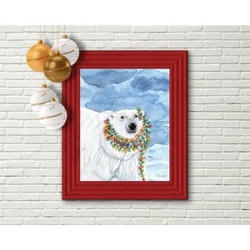 Contemporary Polar Bear Christmas Decor, Watercolor Art Print 16 x 20 Unframed